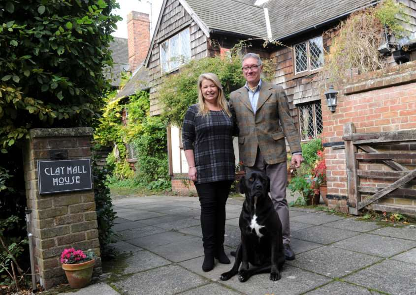 Clay Hall House, luxury Bed and Breakfast business which has seen a boom in trade due to falling pound etc.''Pictured: Simon Oldfield and Angela Groves (along with Grace the dog) ANL-161025-133841009