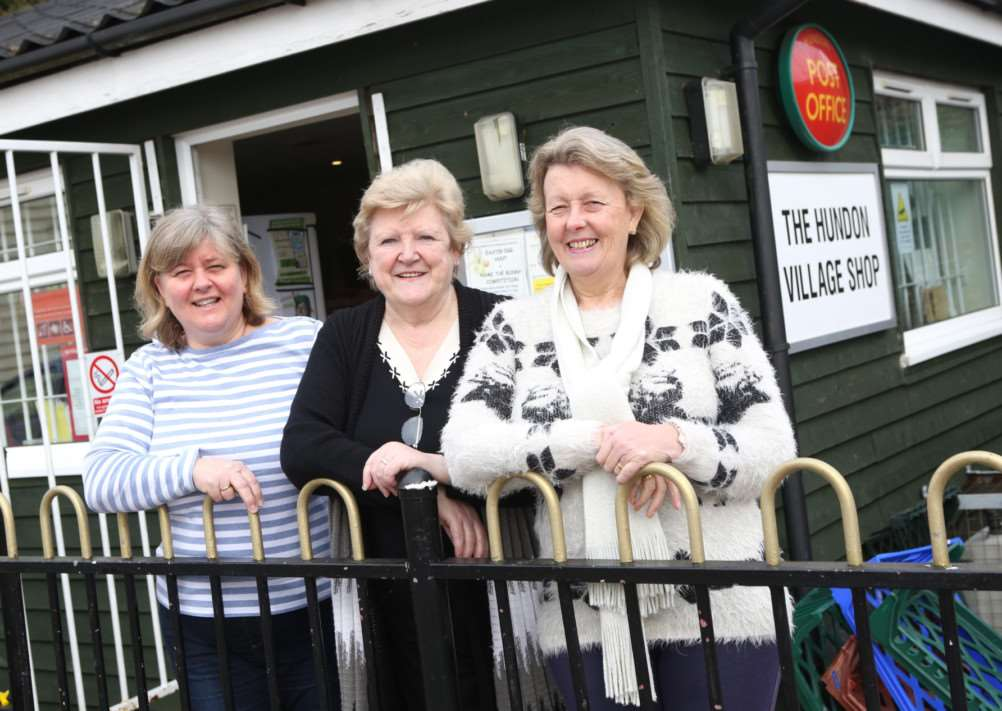 From left: Cathryn Clark, Ann McGregor and Karen Snow pictured outside the The Hundon Village Shop and Post Office.'Pic - Richard Marsham ANL-150316-164619009