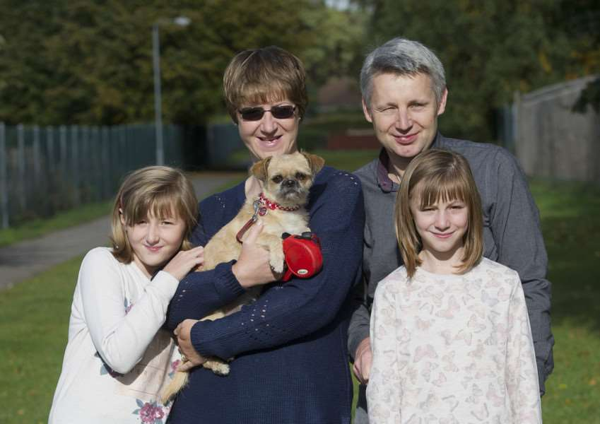 Bella the dog has starred in a new advertising campaign shown before Paul O'Grady's For the Love of Dogs''Pictured: The Shingfield family: Katie (10), Tracey, Ralph and Lucy (10) along with Bella the dog ANL-161023-223057009