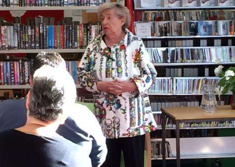Best-selling crime novelist MC Beaton addressing her audience at Haverhill library ANL-150211-113331001