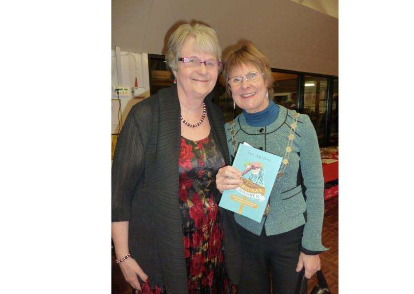 Sue Spiller, author of Bertuna's Children: The History of Education in a Suffolk Village, with the Mayor of St Edmundsbury, Cllr Julia Wakelam