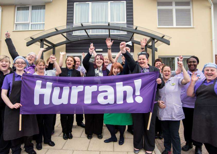 Mildenhall Lodge staff celebrate their 'good' CQC rating. ANL-160425-170229001