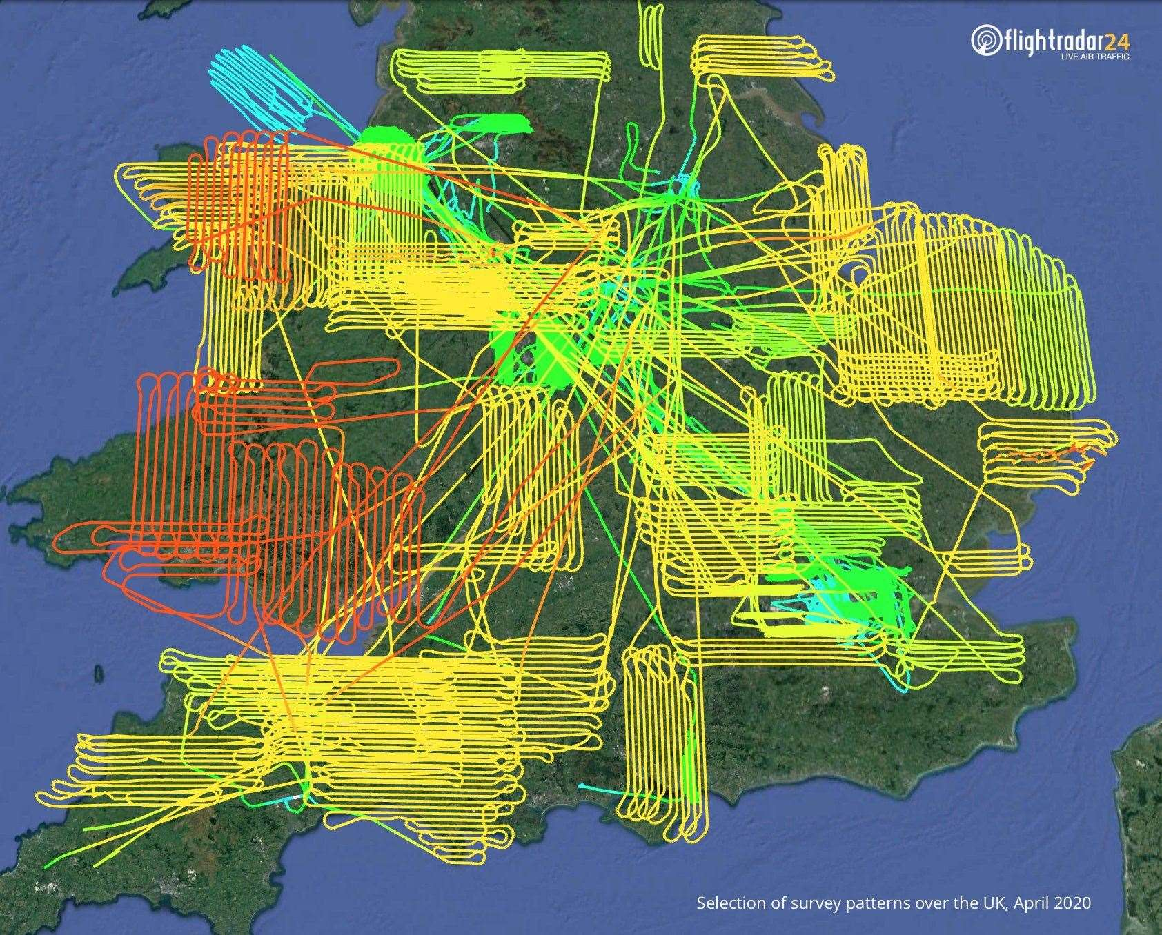 Survey flight paths during April 2020 - Picture :flightradar24.com (33934595)