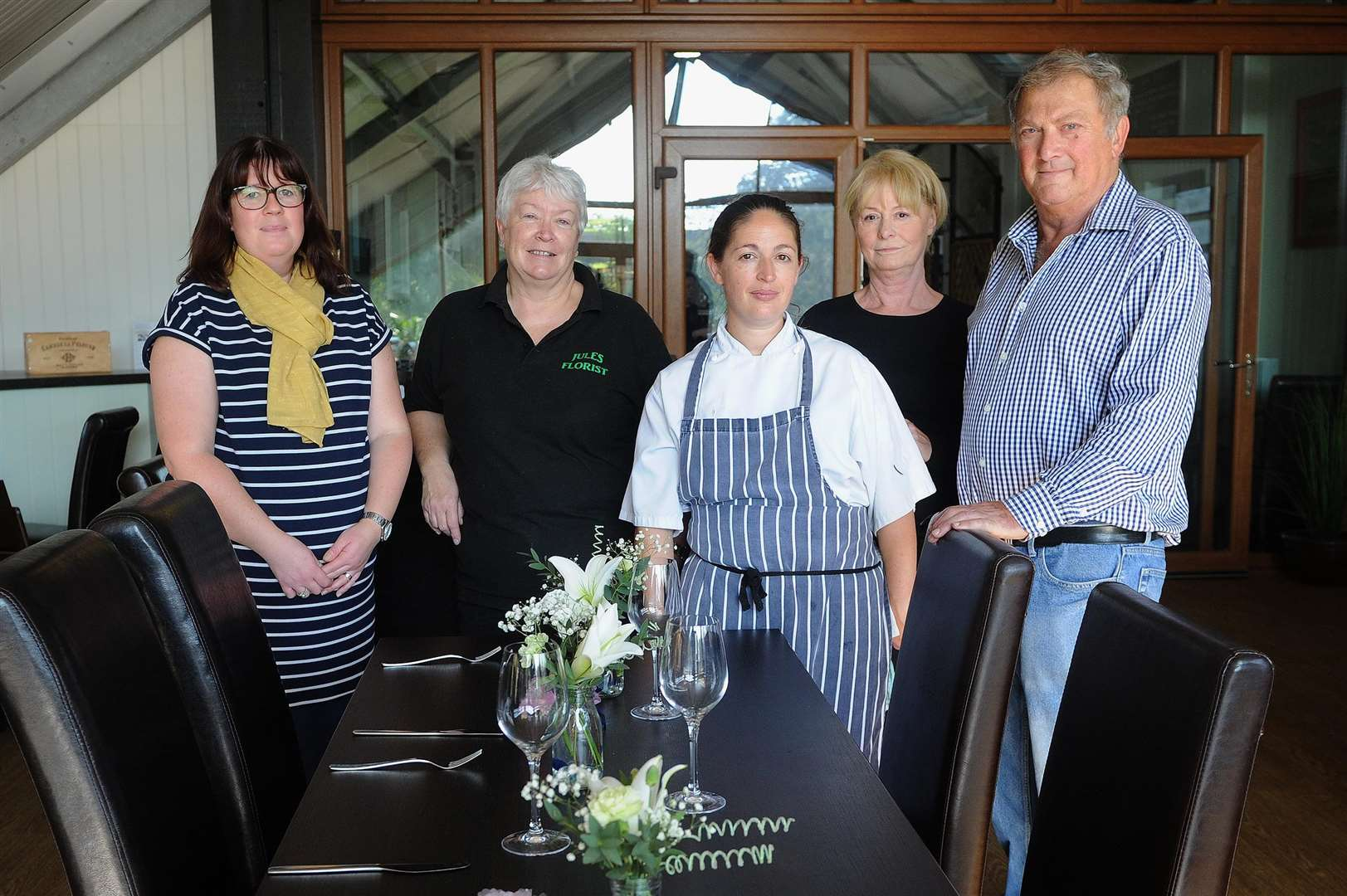 Assington Country Kitchen at The Barn has been extended and is now offering venues for weddings and parties...Pictured: Laura Phillips (Florist), Julie Ivory (Florist), Annie Reidy (Head Chef and Co-Owner), Ellen Gordon (Waitress) and Malcolm Long (Co-Owner)....PICTURE: Mecha Morton... .. (4821420)