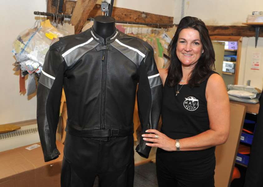 Hideout Leather made all the motorcycle leathers for Mission Impossible 5''Pictured: Kate Jennings with one of the suits that the boss of the baddies used ANL-150508-065420009