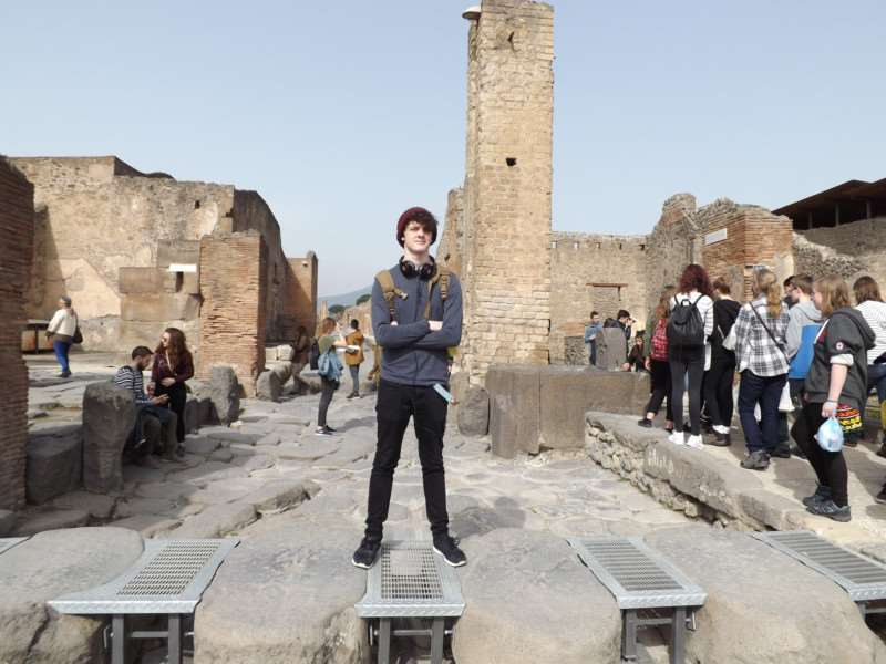 Posing in Pompeii during a recent visit by pupils from Ormiston Sudbury Academy