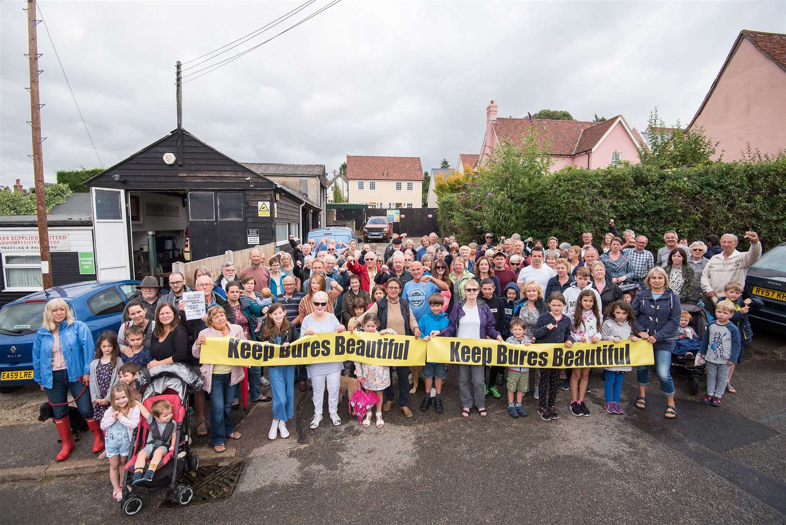 BURES: Protest.Pilgrims Garage, Cuckoo Hill, Bures.Bures residents are holding a silent protest, as Babergh planners visit the site of a controversial partially-built housing development in Cuckoo Hill, which is seeking retrospective permission. Picture by Mark Westley. (30942924)