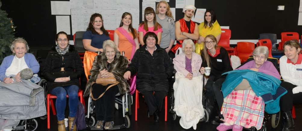 A group of young volunteers arranged for four disabled women from a Sudbury care home to see their school musical. Picture by Chris Fell
