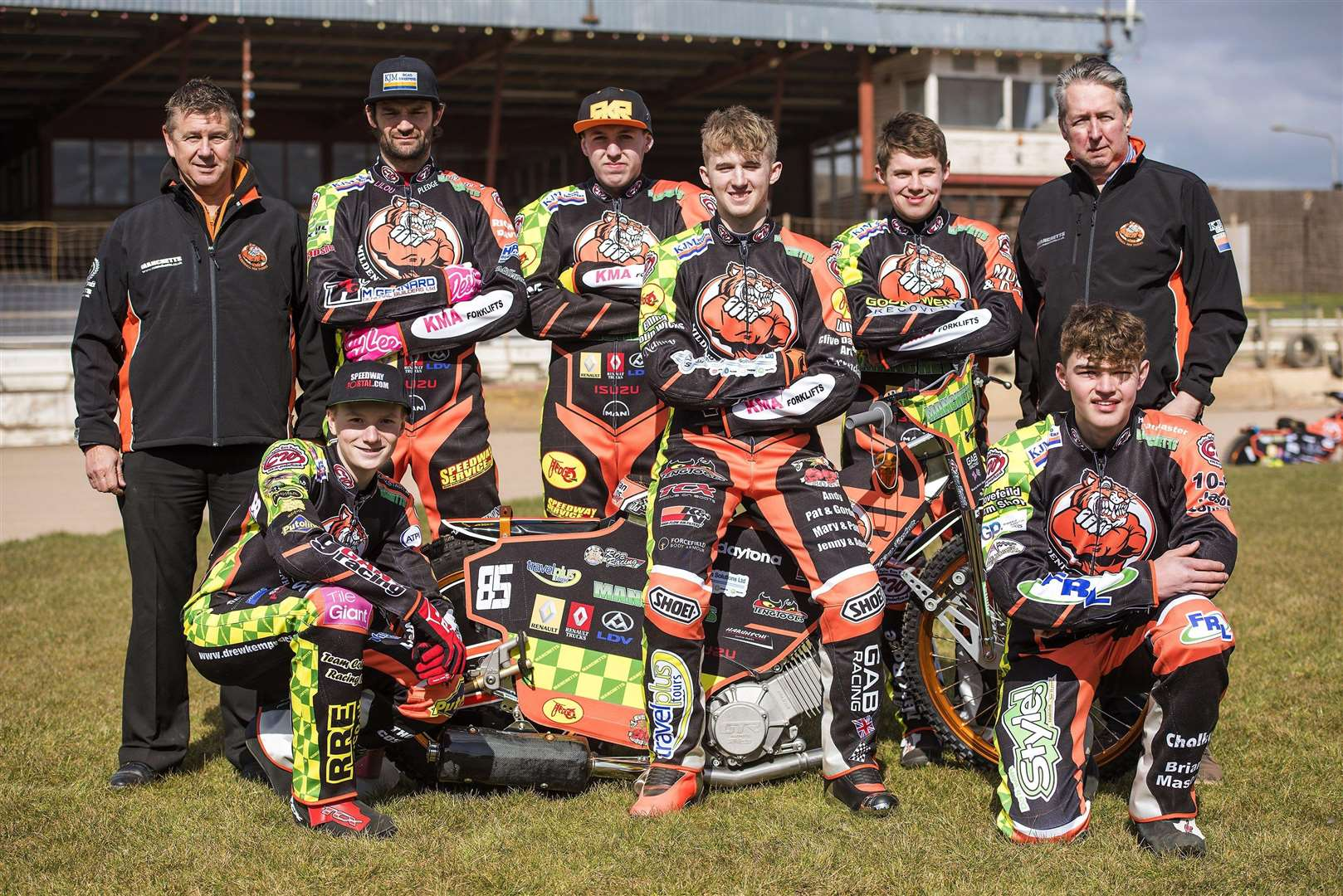 Mildenhall Fen Tigers Pre season practice day...Mildenhall Fen Tigers 2018 - Back row Left to right: Kevin Jolly (promoter) Danny Ayres, Ryan Kingsley, Jordan Jenkins, Josh Bailey, Phil Kirk (team manager) Front row left to right: Drew Kemp, Sam Bebee, ..Picture Mark Westley. (2967810)