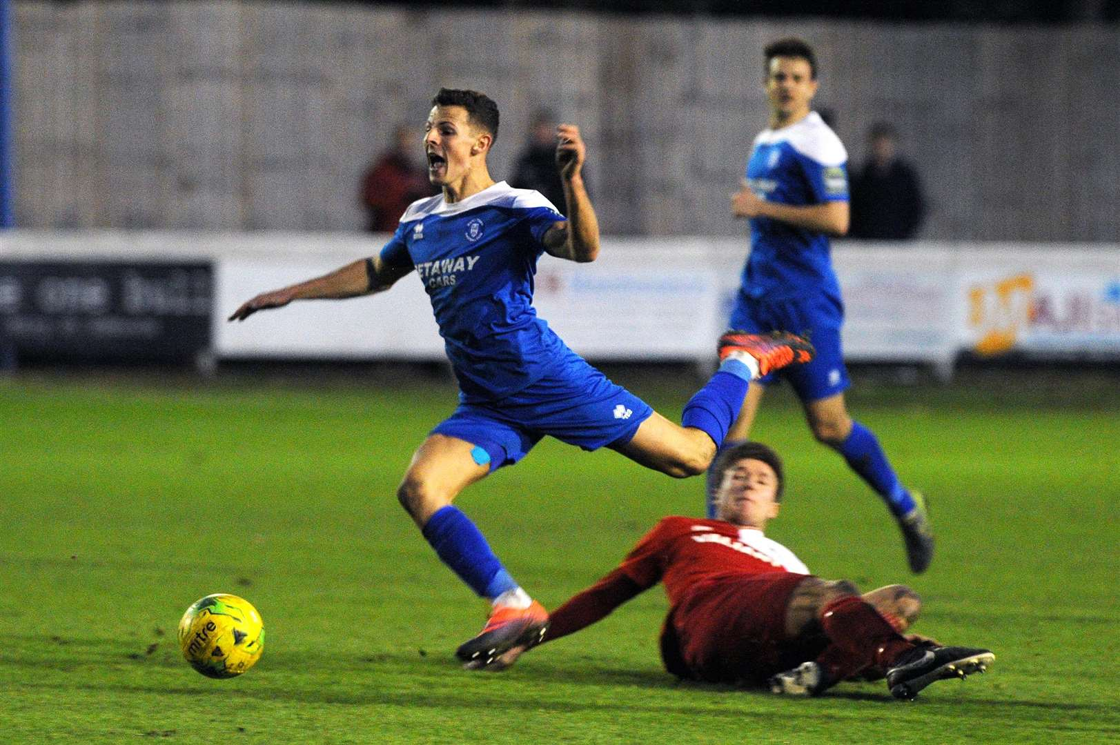 FOOTBALL - Bury Town v Aveley..Pictured: Ryan Jolland gets fouled....PICTURE: Mecha Morton... .. (5187108)