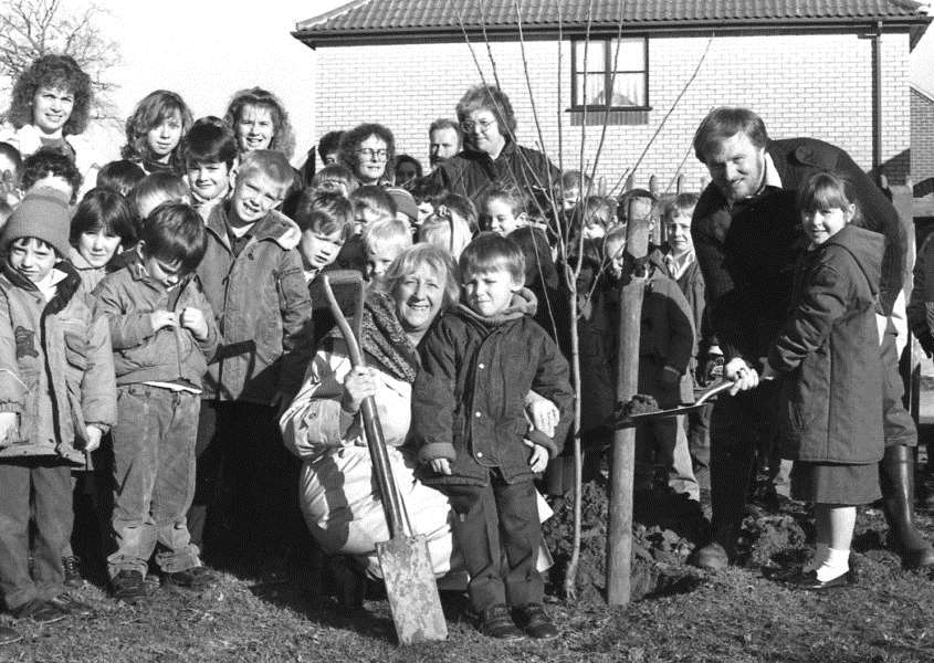 Nostalgia: Tree planting at Elmswell Primary School in 1989