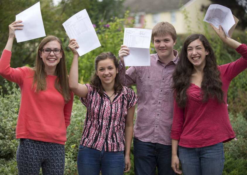 County Upper School Bury St Edmunds A Level results'Megan Filkins, Liliana Luongo, Ben Ward and Louise Chartron'Picture Mark Westley ANL-150813-115427009