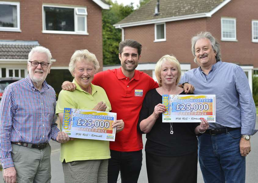 John and Susan Welford with Christina and Jeff Chamberlain pictured with Matt Johnson, centre, from the People's Postcode Lottery