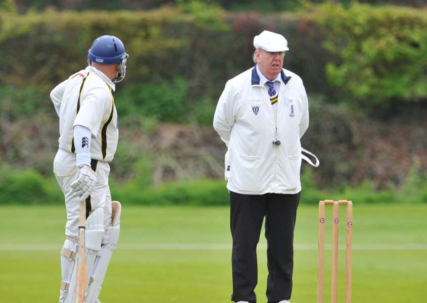 Mildenhall V Mistley cricket action. Star Umpire Ronald Raisey. ENGANL00220130705091136
