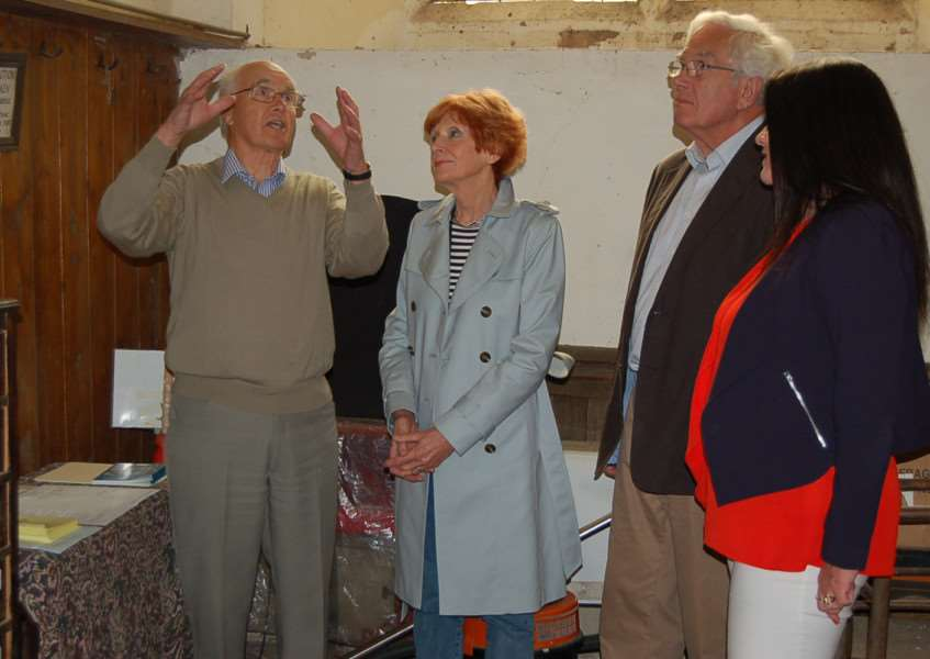 Colin Smith in the church tower, outlining the project to Cllr Susan Glossop, church warden Harry Lidster and Cllr Beccy Hopfensperger ANL-160718-151831001