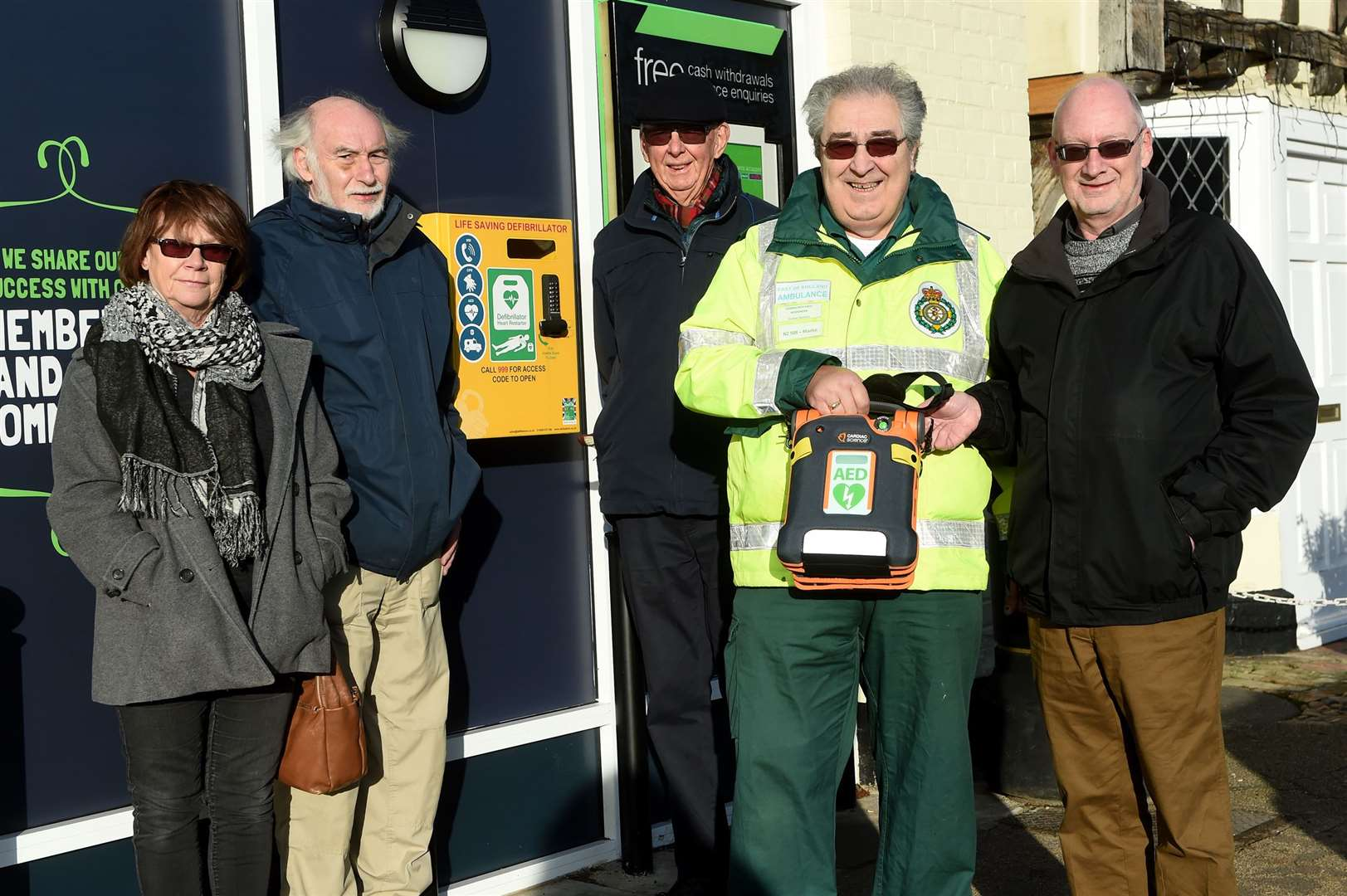 Long Melford have launched a fundraising campaign to finance the installation of new 24/7 community defibrillators around the village..Pictured: Maureen Clayton (Parish Cllr), Richard Michette (Parish Cllr), Robin Hughes (resident) Martin Richards (Co-ordinator of Community First responders) and John Nunn (Cllr)...PICTURE: Mecha Morton .... (23852555)