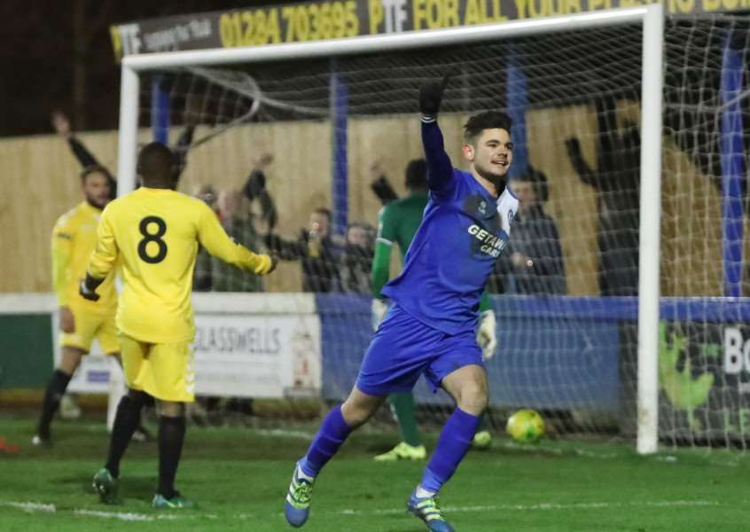 AT THE DOUBLE: Cemal Ramadan celebrated two goals last night Picture: Paul Tebbutt