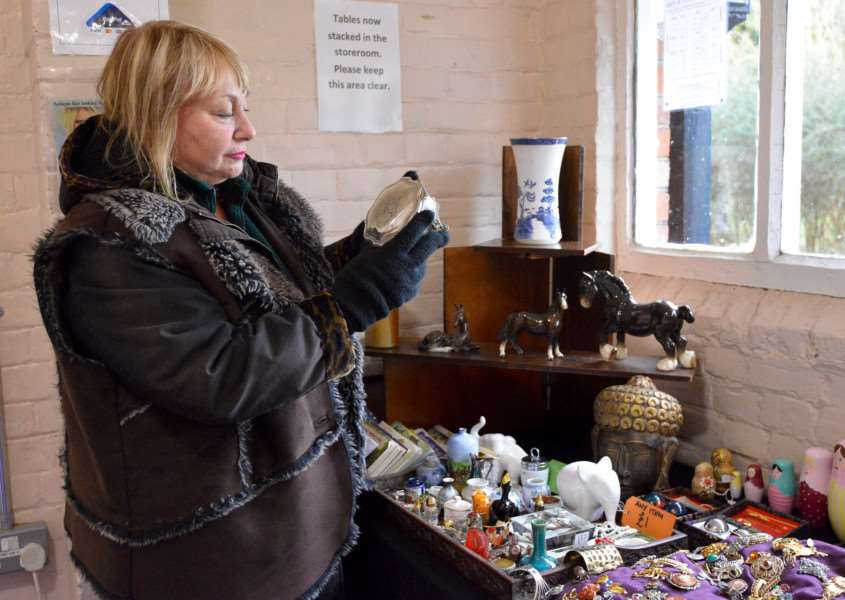 Antiques and Vintage Fair at The Old School Community Centre in Long Melford. Stall Holder Andrea King.