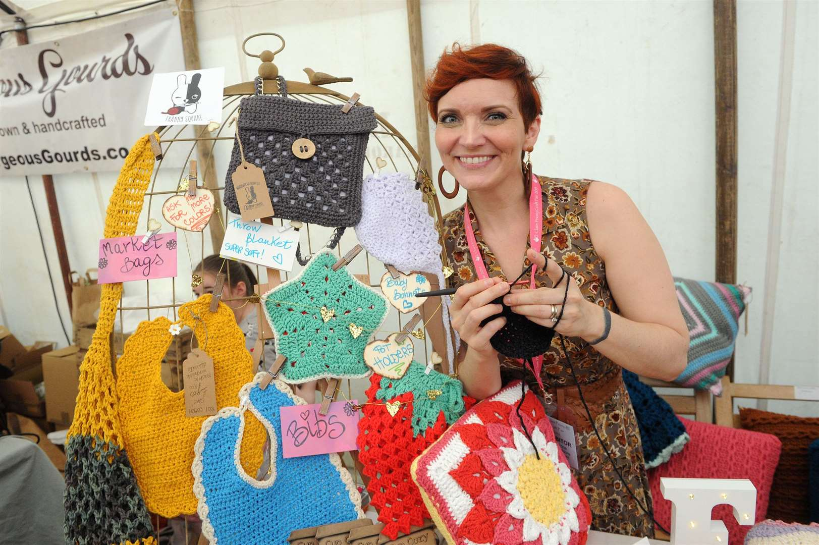 Clare Priory Craft Fair 2019..Pictured: Francesca Moore with her stall 'Franny Square'...PICTURE: Mecha Morton. (13785438)