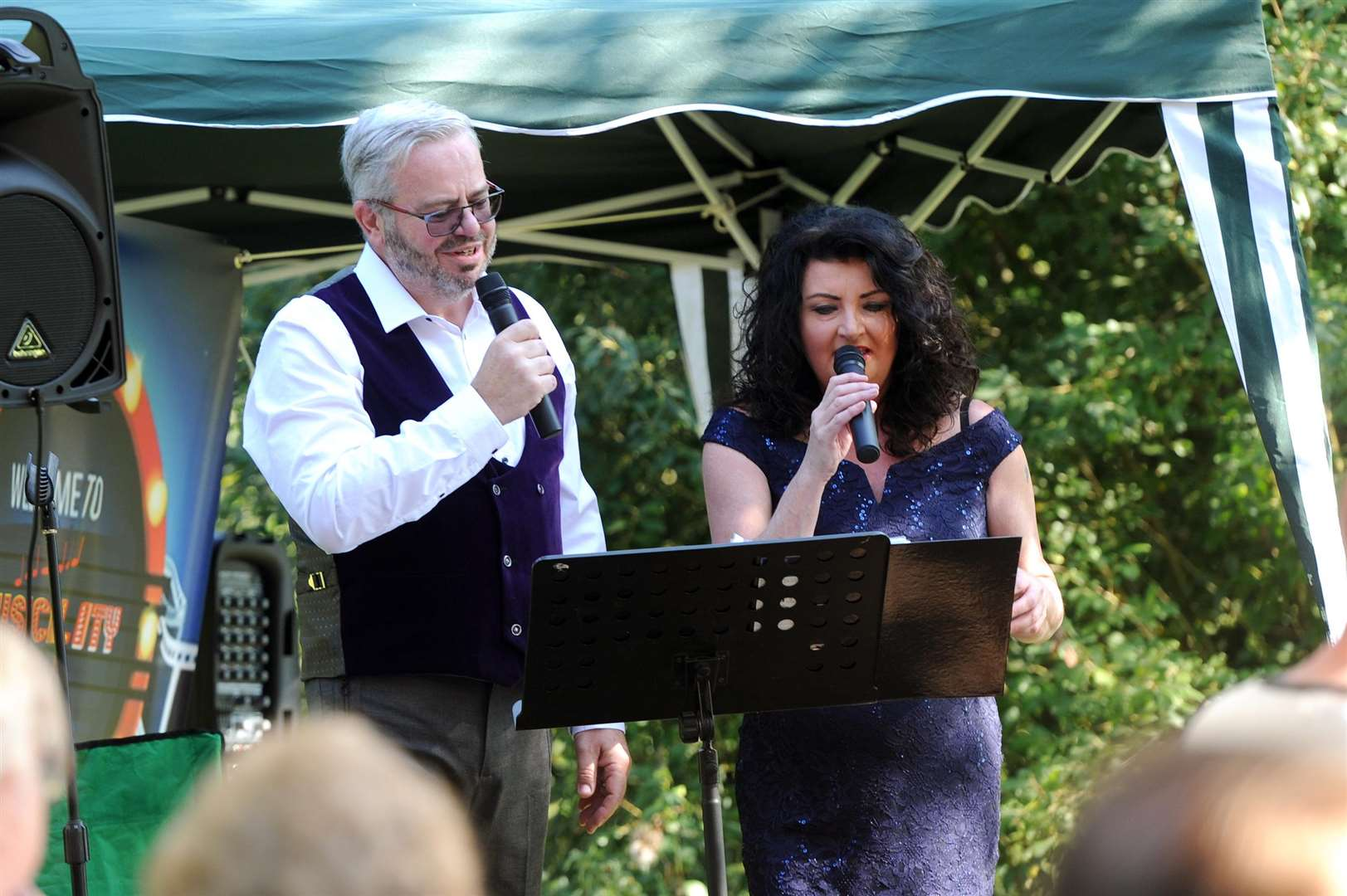 Showtime at Teatime held a performance at Jenny Wren's Tea in the Park at Long Melford Country Park....Pictured: Music by Cafe owner Janet Munro and Ian Sander....PICTURE: Mecha Morton... .. (3920538)