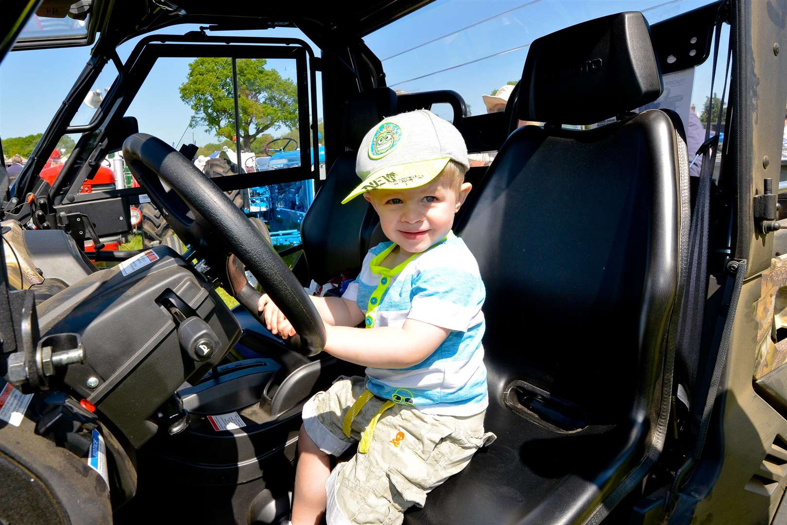 The Annual Hadleigh Show. Freddie Turner (2) in a 4x4 Jeep. (2088010)