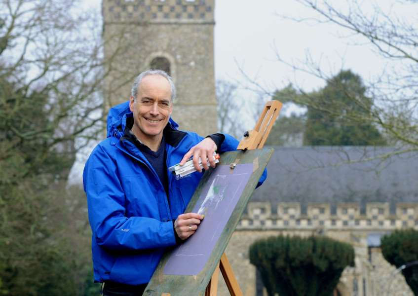 Bury St Edmunds artist Andrew Harrington is passionate about the sweeping skies and beautiful scenery in his his county of Suffolk. ''Now his work is on display in a new exhibition at the recently re-opened Beehive pub in Horringer. Picture: Andy Abbott.