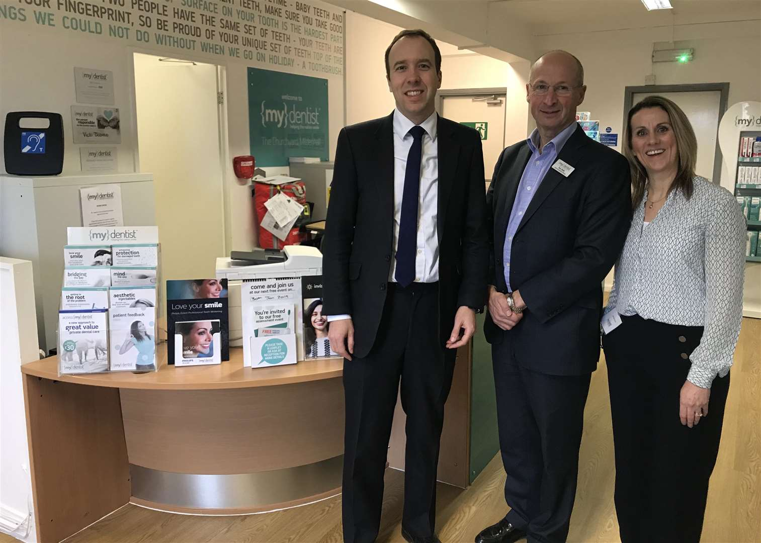 Health secretary Matt Hancock visited the mydentist surgery in Mildenhall to meet staff and tour the surgery. (7266497)