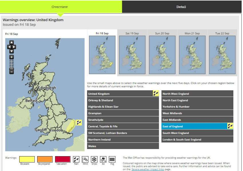 Weather warning for rain issued by Met Office