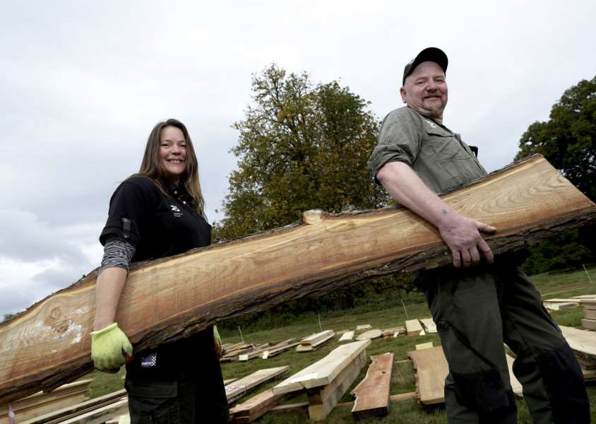Wood Fair weekend at Ickworth House. Pictured are Ickworth House Gardeners June James and Patrick McCormack with some of the wood grown on the estate. ''Picture: MARK BULLIMORE ANL-160810-223428009