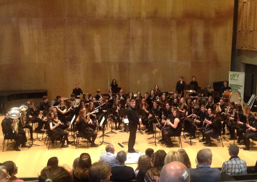 The wind band at the Eastern region final of Music for Youth at Snape Maltings