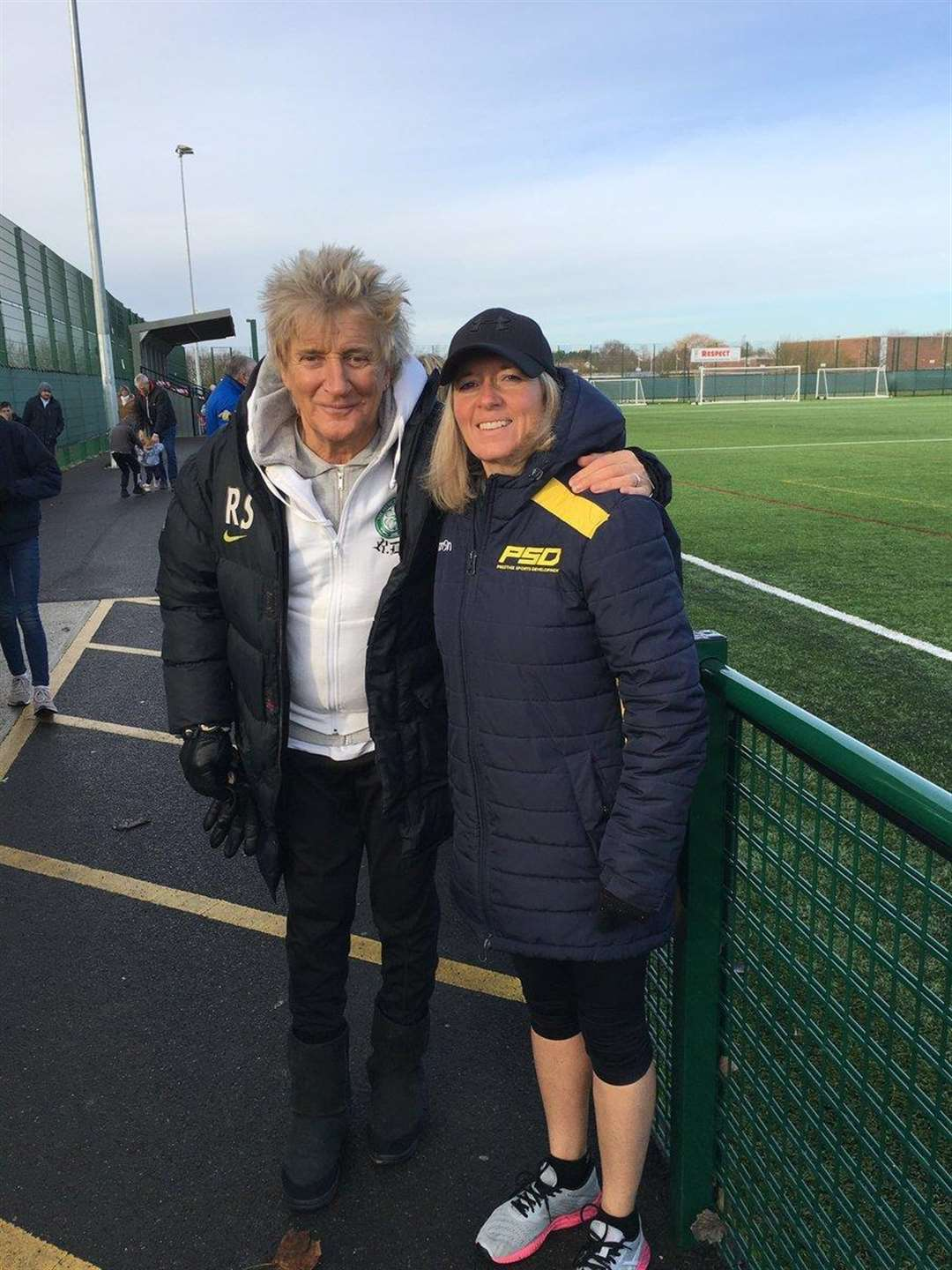 Sir Rod Stewart with Lisa Shulver during his visit to the New Croft in Haverhill