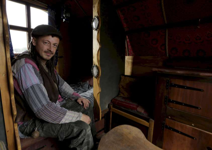 Wood Fair weekend at Ickworth House. Laurence Heffer in his gypsy bow-top caravan which is for sale. ''Picture: MARK BULLIMORE ANL-160810-223453009