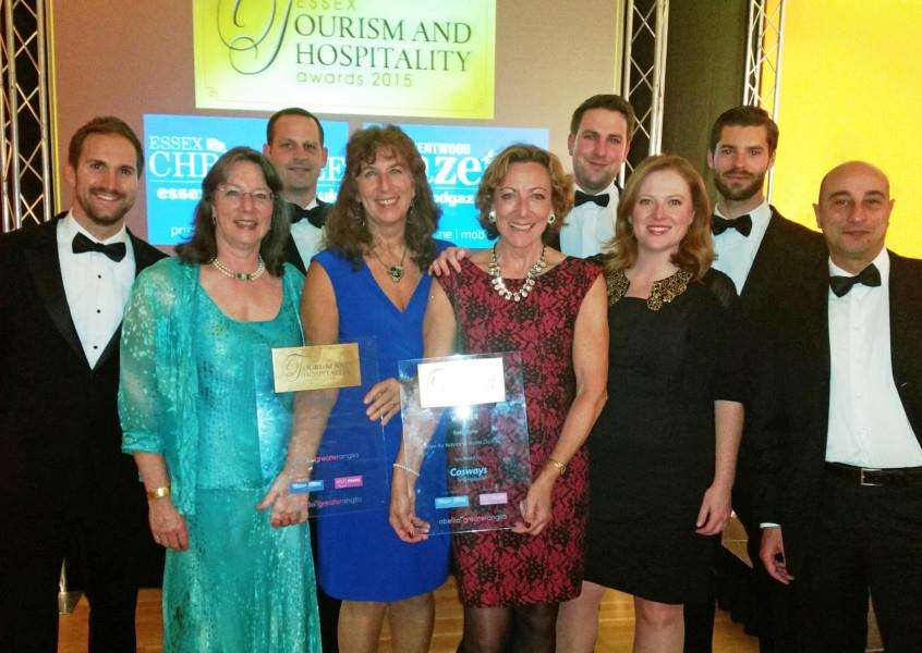 Staff from Stoke by Nayland Hotel, Gold and Spa celebrating their double award win ANL-150611-163840001