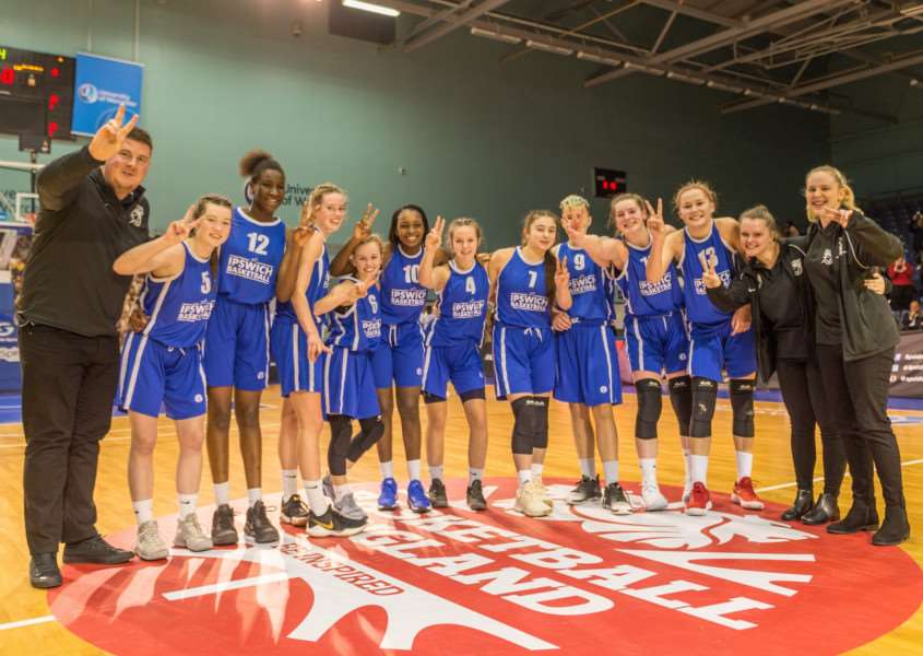 DELIGHTED: The U16 Girls team after winning the U16 National Cup, shortly after the senior women's team also took national cup success for Ipswich Basketball Club Picture: Pavel Kricka