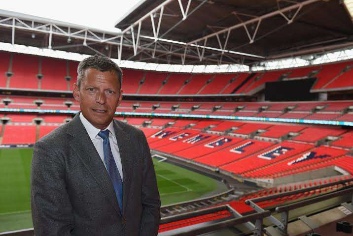 LONDON, ENGLAND - MAY 18: CEO Martin Glenn of The FA poses for pictures during his first day as CEO of The FA at Wembley Stadium on May 18, 2015 in London, England. (Photo by Christopher Lee - The FA/The FA via Getty Images)