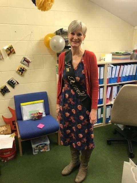 Frances Parr on her last day at Barningham CEVC Primary School