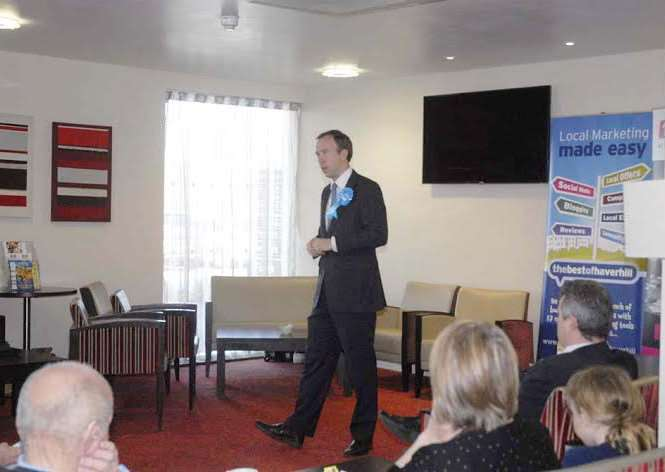 Matthew Hancock talking at the bestof Haverhill monthly event. Picture: David Doughty
