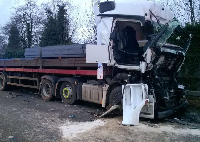 The scene of the crash on the A14 at Newmarket. Photo: @roadpolicebch