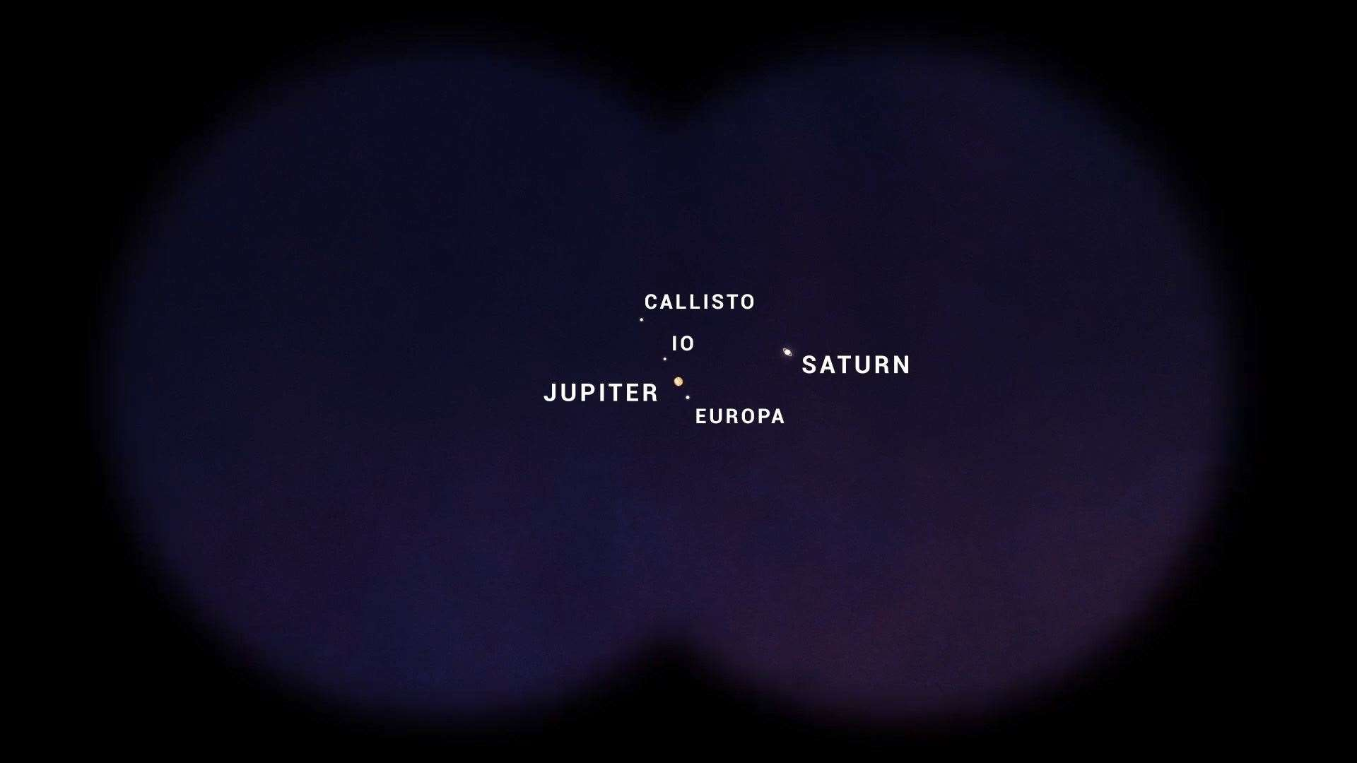 How Jupiter, with its four Galilean moons, and Saturn could appear on December 21 through high quality binoculars. Image: NASA/JPL-Caltech