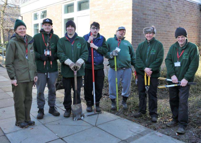 The gardening team from Nowton Park Nursery in Bury St Edmunds working in the grounds of Harleston's Archbishop Sancroft High School. From the left Alison Findlay, Daniel Tatum, Kieran Johnson, Jacob Bailey, Neil Daplin, Alison Metcalf and Les Whiting.