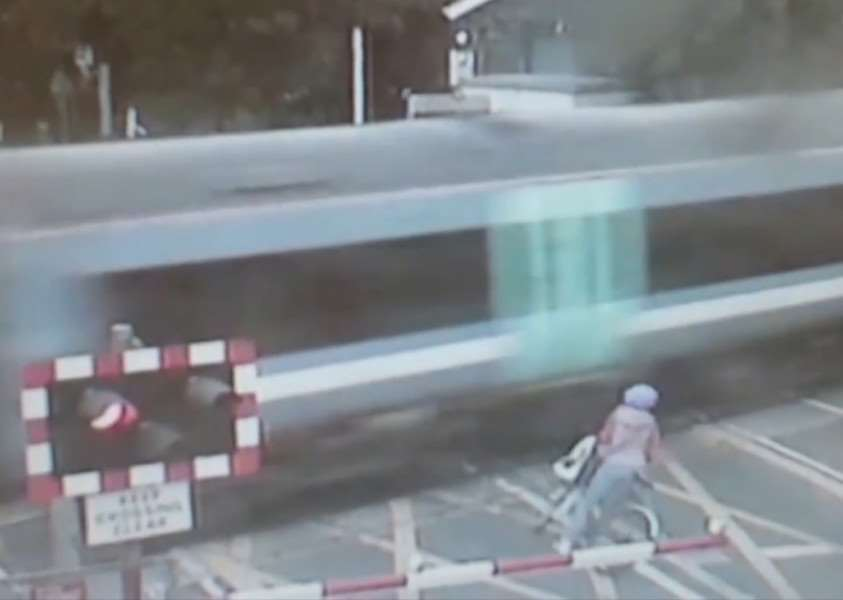 A near miss for this cyclist at a Cambridgeshire level crossing