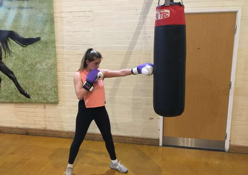 READY TO RUMBLE: Megan Allen, pictured going through her paces in the gym, is one of four fighters making her debut at the weekend