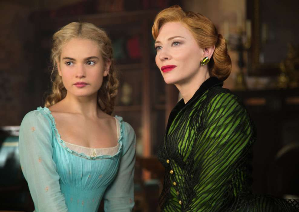 Lily James as Cinderella and Cate Blanchett as the Stepmother. Picture: PA Photo/Jonathan Olley/Disney