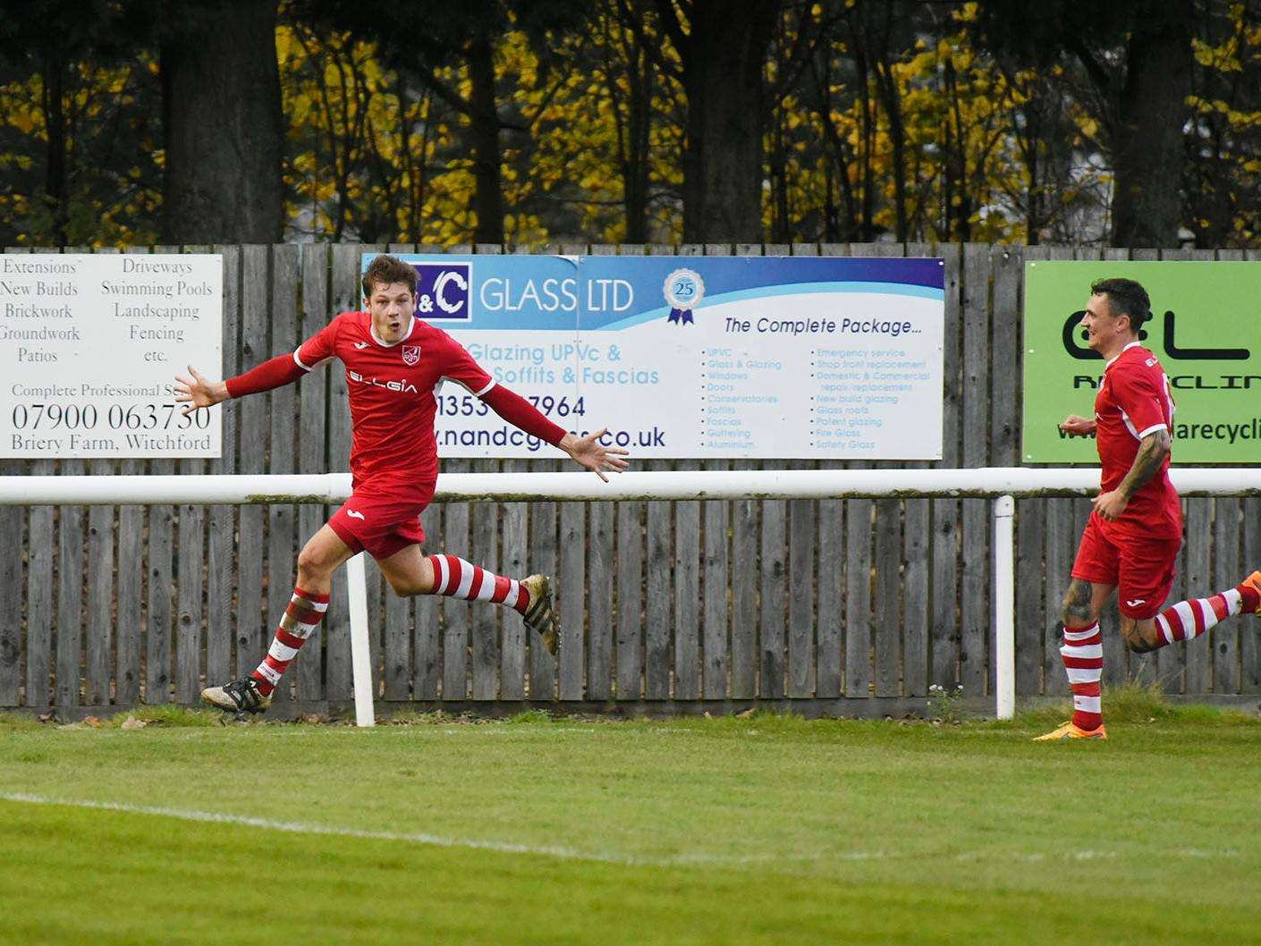 Ely City's James Seymour celebrates his goal against Brantham Athletic Picture: Mark Westley