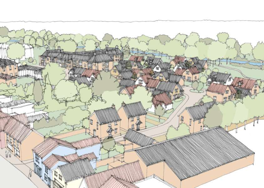 An artist's impression of designs for retirement homes on the former Brett Works site in Hadleigh.