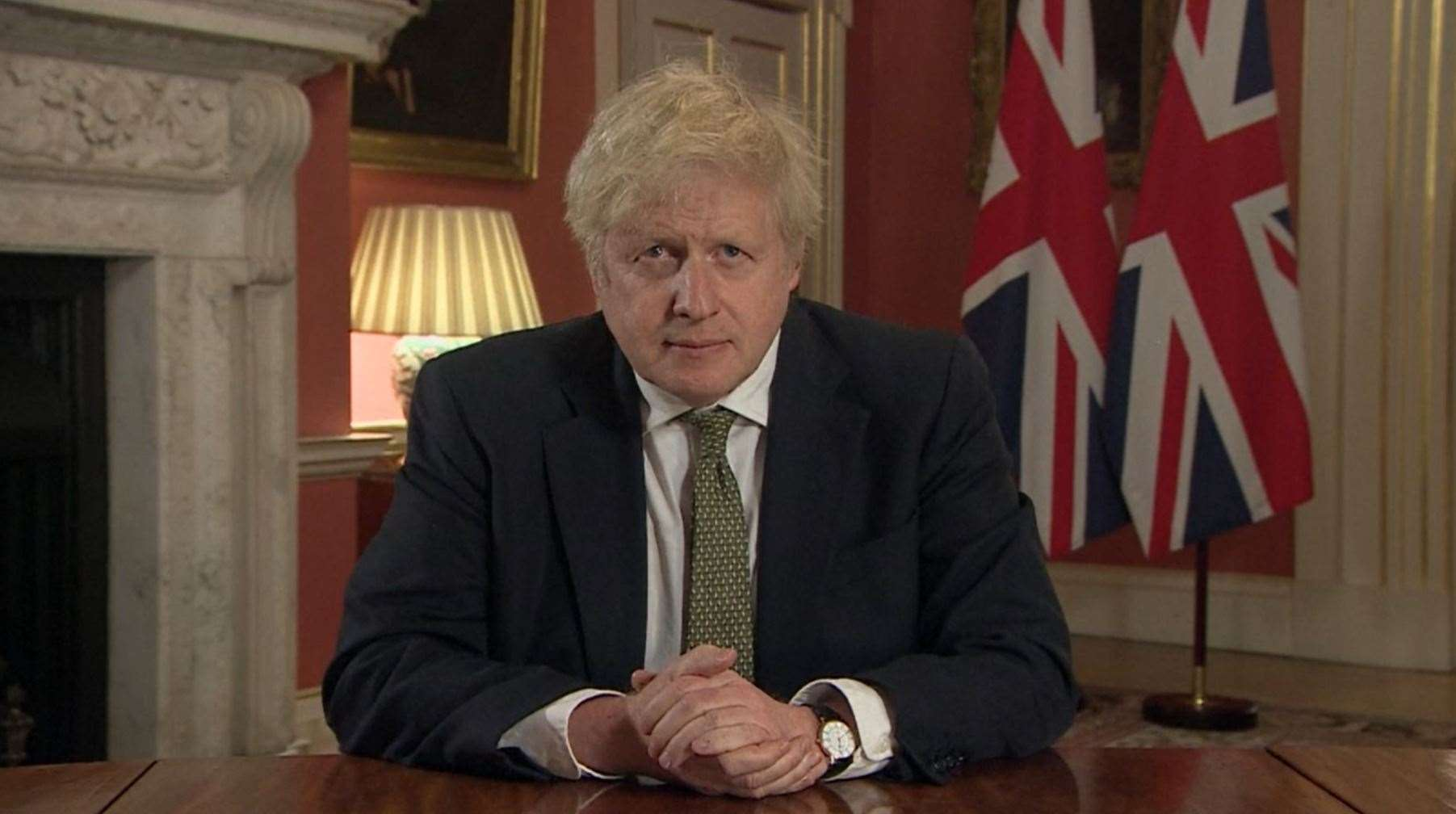 Prime Minister Boris Johnson, pictured during a televised address to the nation