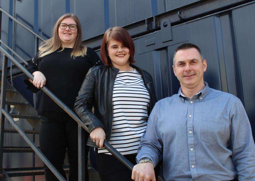 New roles at Portable Spaces in Bacton. Fron left, Michelle Macguire, senior hire controller, Catherine Hodgson, hire controller and Rob Luck, business development manager.