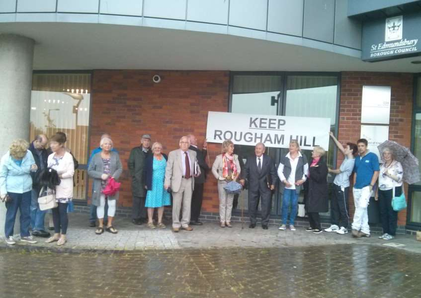 Campaigners keen to keep the HWRC at Rougham congregate outside West Suffolk House before the decision on the West Suffolkk Operational Hub ANL-160629-100440001