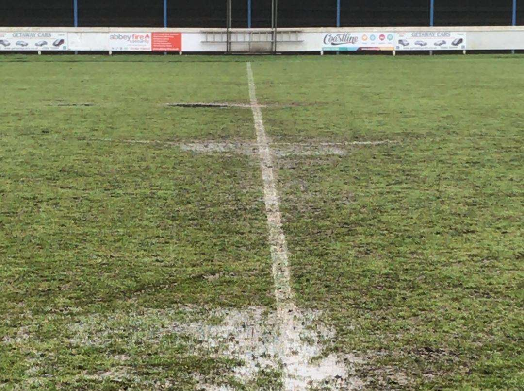 GAME OFF: This picture was taken by the club during today's pitch inspection and shows standing water on the half-way line Picture: Bury Town