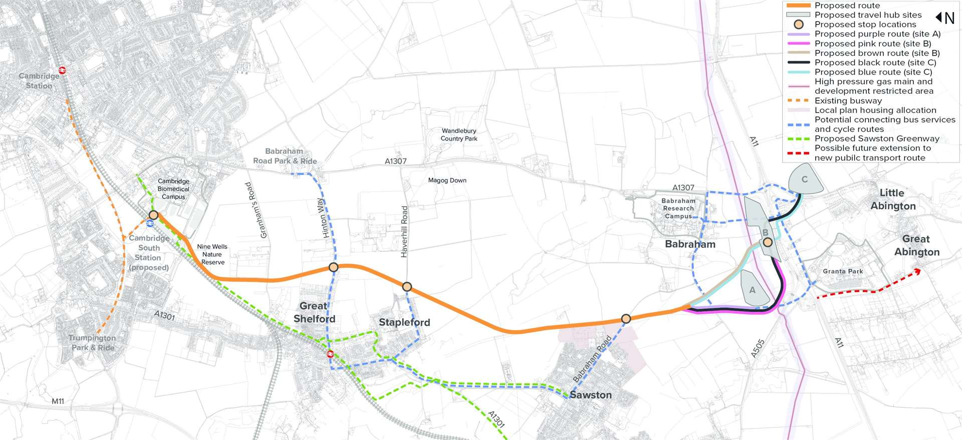 The proposed new public transport links between a new travel hub near the A11/A1307/A505 to Cambridge Biomedical Campus, via Great Shelford, Stapleford and Sawston. Contributed graphic